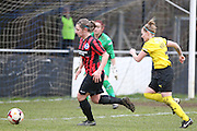 Lucy Somes chases down the ball during the Women's FA Cup match between Watford Ladies FC and Brighton Ladies at the Broadwater Stadium, Berkhampstead, United Kingdom on 1 February 2015. Photo by Stuart Butcher.