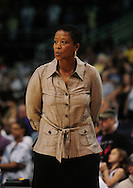 June 4, 2010; Phoenix, AZ, USA; Los Angeles Sparks head coach Jennifer Gillom reacts from the bench during the first half at US Airways Center against the Phoenix Mercury.  The Mercury defeated the Sparks 90-89.  Mandatory Credit: Jennifer Stewart-US PRESSWIRE
