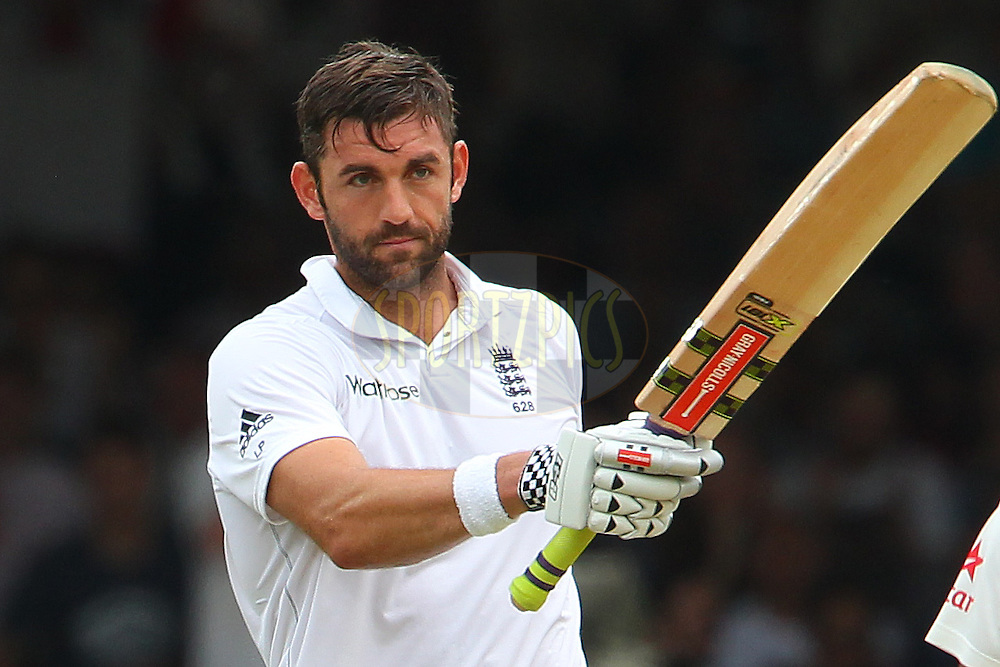 Liam Plunkett of England celebrates his fifty during day three of the 2nd Investec test match between England and India held at Lords cricket ground in London, England on the 19th July 2014<br /> <br /> Photo by Ron Gaunt / SPORTZPICS/ BCCI