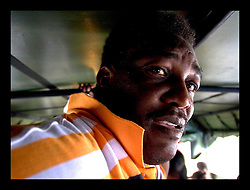 30th August, 2005. Aftermath of Hurricane Katrina, New Orleans, Louisiana. Pastor T.L Robinson of Victory Praise ministries on the refugee bus from the lower 9th ward to the Superdome. Mr Robinson left lost his wife in the storm and has no idea if she may be alive?