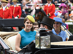 Princess Eugenie of York and Princess Beatrice of York arriving in a carriage during day one of Royal Ascot at Ascot Racecourse.