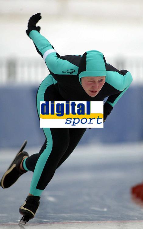 Skøyter, 12. januar 2003, Junior-NM,  Mester sammernlagt i sprint ble Mari Hemmer , Aktiv
