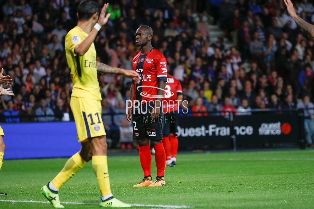 Jordan IKOKO (En Avant De Guingamp) scored against it team, Angel Di Maria (psg) during the French championship L1 football match between EA Guingamp v Paris Saint-Germain, on August 13, 2017 at the Roudourou stadium in Guingamp, France - Photo Stephane Allaman / ProSportsImages / DPPI
