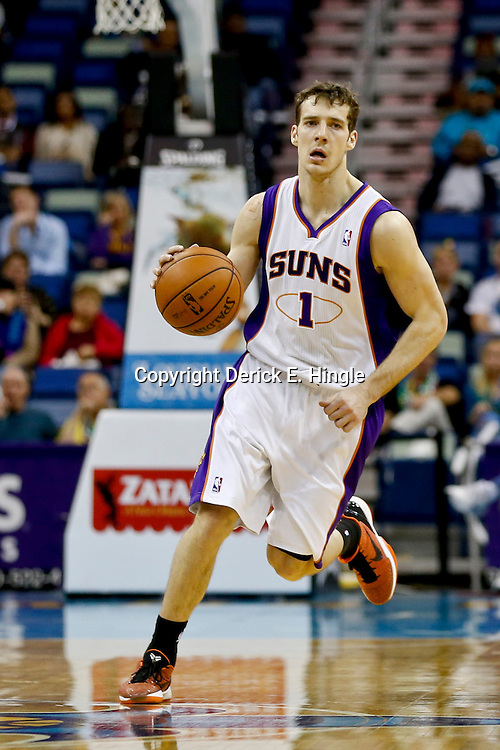 Feb 6, 2013; New Orleans, LA, USA; Phoenix Suns point guard Goran Dragic (1) against the New Orleans Hornets during the second half of a game at the New Orleans Arena. The Hornets defeated the Suns 93-84. Mandatory Credit: Derick E. Hingle-USA TODAY Sports