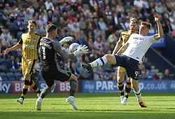 Jordan Hugill of Preston North End (R) and Keiren Westwood of Sheffield Wednesday in action - Mandatory by-line: Jack Phillips/JMP - 05/08/2017 - FOOTBALL - Deepdale - Preston, England - Preston North End v Sheffield Wednesday - English Football League Championship