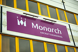 © Licensed to London News Pictures. 02/10/2017. LUTON, UK.  Detail view of the engineering building of Monarch Airlines at Luton Airport. The company has collapsed into administration today immediately grounding flights and ruining the holiday plans of thousands of people.  Photo credit: Cliff Hide/LNP