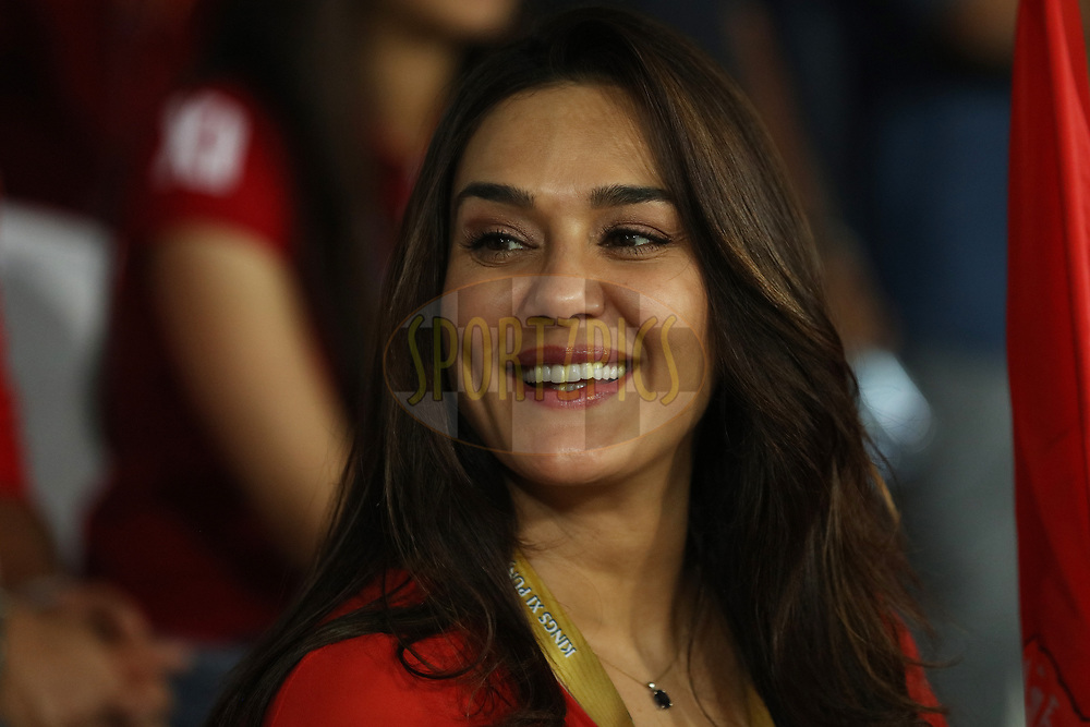 Kings Xi Punjab co owner Preity Zinta at different moods during match twenty five of the Vivo Indian Premier League 2018 (IPL 2018) between the Sunrisers Hyderabad and the Kings XI Punjab  held at the Rajiv Gandhi International Cricket Stadium in Hyderabad on the 26th April 2018.<br /> <br /> Photo by Saikat Das /SPORTZPICS for BCCI