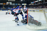 KELOWNA, CANADA - AUGUST 31: Kyle Crosbie #25 of the Kelowna Rockets is checked by Remy Aquilon #3 in front of the net of Brock Gould #1 of the Victoria Royals during second period  on August 31, 2018 at Prospera Place in Kelowna, British Columbia, Canada.  (Photo by Marissa Baecker/Shoot the Breeze)  *** Local Caption ***