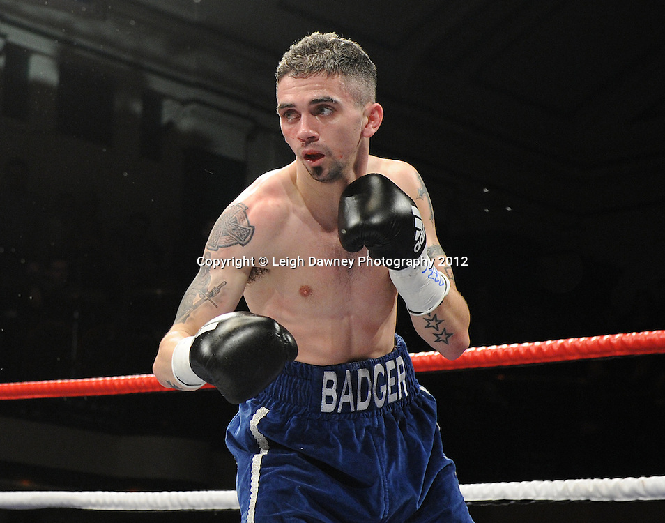 Carl Frampton defeats Kris Hughes (pictured) for The Commonwealth  Super Bantamweight Title on the 28th January 2012 at York Hall, Bethnal Green, London. Matchroom Sport. © Leigh Dawney Photography 2012.