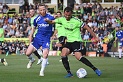 Leeds United's Adam Forshaw(4) closes down Forest Green Rovers Gavin Gunning (16) during the Pre-Season Friendly match between Forest Green Rovers and Leeds United at the New Lawn, Forest Green, United Kingdom on 17 July 2018. Picture by Alan Franklin.
