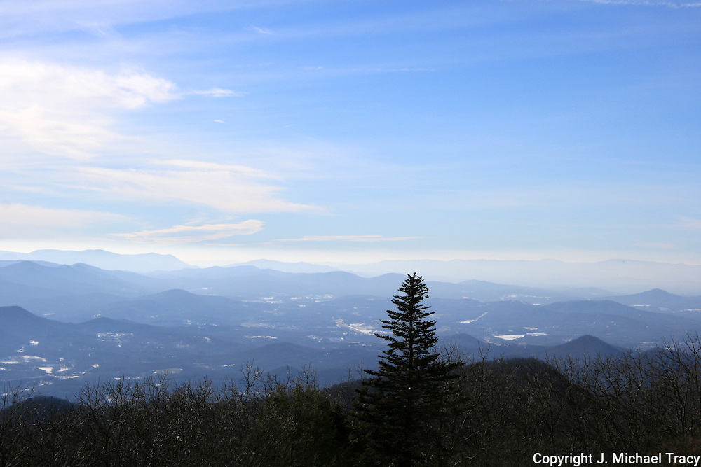 A spectacular, winter view of Georgia's Blue Ridge Mountains from the highest peak in Georgia, Brasstown Bald.