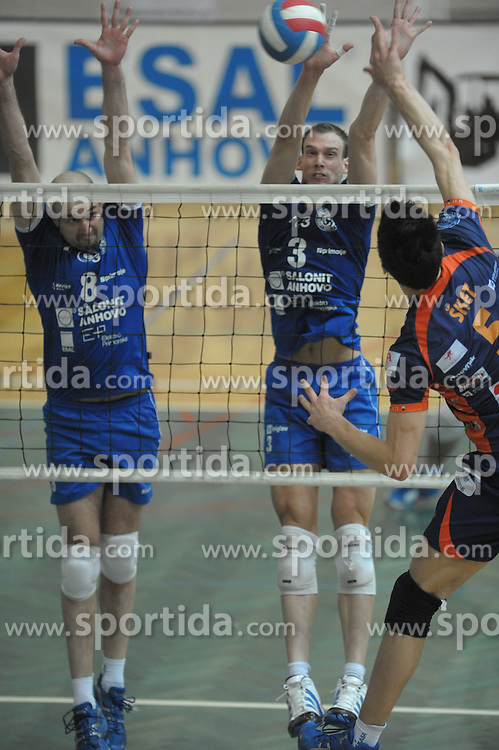 Sabec and Szabo of Salonit Anhovo at 1st match of finals of 1st DOL men volleyball league between OK Salonit Anhovo and OK ACH Volley, ACH played in Sportna dvorana Kanal, on April 20, 2010, in Kanal, Slovenia. (Photo by foto-forma / Sportida)