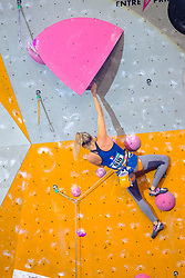 Julia Chanourdie of France in Women Lead event at  the International Federation of Sport Climbing (IFSC) World Cup 2017 at Edinburgh International Climbing Arena, Scotland, United Kingdom.