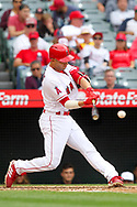 May 20, 2018 - Anaheim, CA, U.S. - ANAHEIM, CA - MAY 20: Andrelton Simmons (2) of the Angels hits a line drive  during the major league baseball game between the Tampa Bay Rays and the Los Angeles Angels on May 20, 2018 at Angel Stadium of Anaheim in Anaheim, California. (Photo by Cliff Welch/Icon Sportswire) (Credit Image: © Cliff Welch/Icon SMI via ZUMA Press)