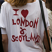 Anti-Brexit march and rally 2nd of July in London, United Kingdom. 48 percent of voters wanted to stay n the EU and now feel disenfranchised and cheated on and many want a second referendum. A woman in a t-shirt with the words 'I love London and Scotland'.