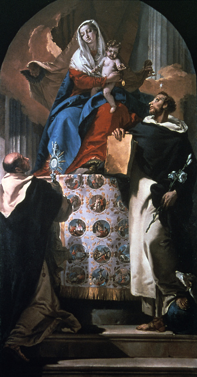 Virgin nad child with St Dominic and St Hyacinth' 1740-1750.  Giovanni Battista (Gianbattista) Tiepolo (1696-1770) Venetian painter.   Dominic (1170-1221) Spanish, founder of Black Friars. Hyacinth (1185-1257) Polish, evanglised Poland.