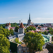 Tallinn, Estonia -- July 23, 2019. A photo looking down on Tallin from a limestone hill overlooking the town square.