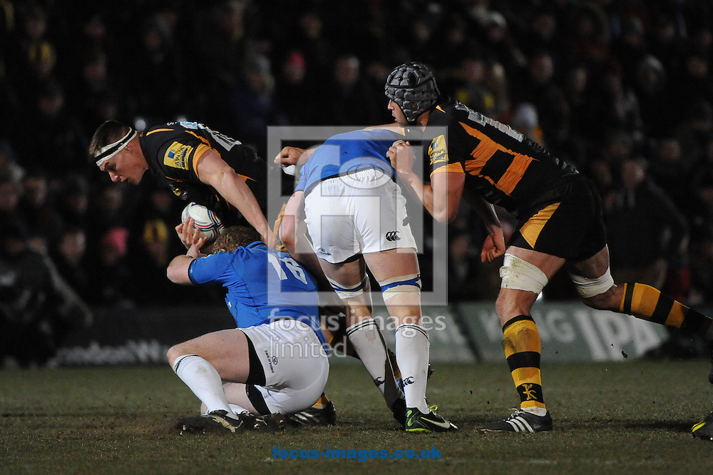 Picture by Ramsey Cardy/Focus Images Ltd +44 7809 235323.05/04/2013.Tom Palmer of London Wasps and Sean Cronin of Leinster Rugby during the Amlin Challenge Cup match at Adams Park, High Wycombe.