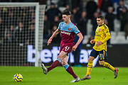 Declan Rice (West Ham) & Lucas Torreira (Arsenal) during the Premier League match between West Ham United and Arsenal at the London Stadium, London, England on 9 December 2019.