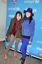 Left to right, FRANCES RUFFELLE and EMILY CORCORAN at Wonderful Winter Wonderland a party to celebrate the launch of Claire's partnership with UNICEF held at 33 Portland Place, London on 14th March 2012.
