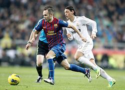 10-12-2011 VOETBAL: REAL MADRID - BARCELONA: MADRID<br /> Andres Iniesta against Real Madrid's Mesut Ozil Oezil<br /> ***NETHERLANDS ONLY***<br /> ©2011-FRH- NPH/Alvaro Hernandez
