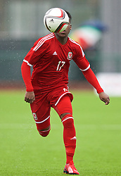 YSTRAD MYNACH, WALES - Thursday, February 19, 2015: Wales' Elijah Chilekwa in action against Czech Republic during a friendly match at the Centre of Sporting Excellence. (Pic by David Rawcliffe/Propaganda)