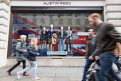 Regent Street, London, April 26th 2016. High street clothing retailer Austin Reed, once a favourite of Winston Churchill, enters administration, putting 1,200 jobs across 200 stores at risk.