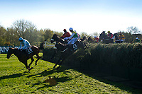 Grand National Meeting - Ladies' Day<br /> e.g. of caption:<br /> National Hunt Horse Racing - 2017 Randox Grand National Festival - Friday, Day Two [Ladies' Day]<br /> <br />   <br /> DR Fox on Mjoeking leads the field as they jump Beecher's Brook  in the 5th race 16.05  Randox Health Topham Handicap Chase (Grade 3) (National Course) (Class 1)<br /> 2m 5f 19y, Good (Good to Soft in places)<br /> 29 Runners.at Aintree Racecourse.<br /> <br /> COLORSPORT/WINSTON BYNORTH