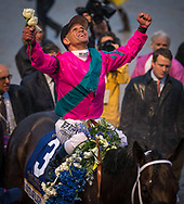 Javier Castellano celebrates winning the 2019 Pegasus World Cup Invitational Stakes after racing City of Light to victory at Gulfstream Park in Hallandale Beach, Florida, Saturday, January 26. 2019