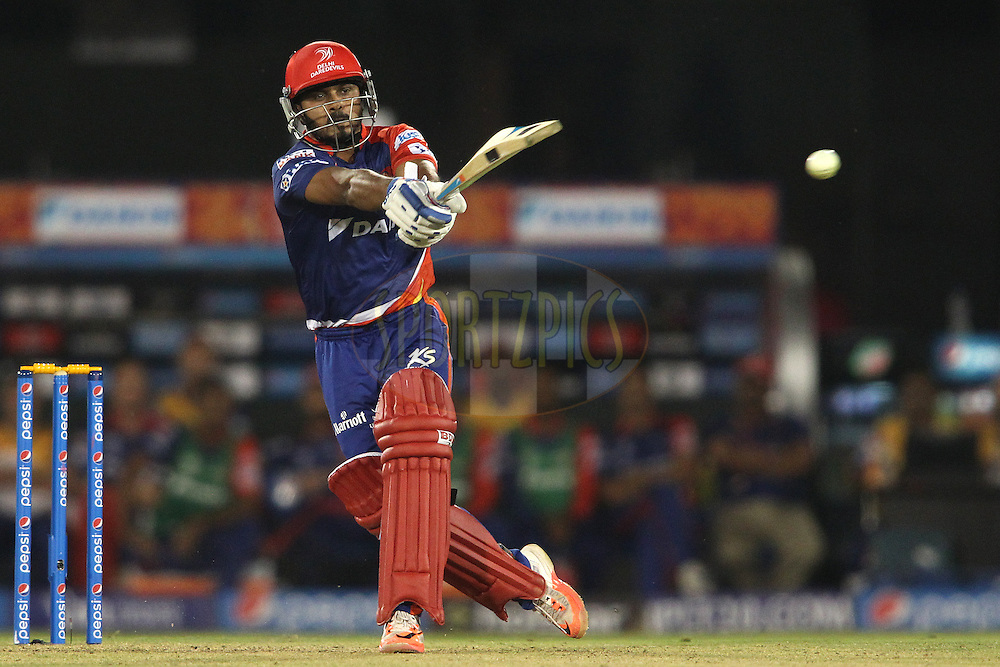 Kedar Jadhav of the Delhi Daredevils pulls a delivery through the leg side during match 45 of the Pepsi IPL 2015 (Indian Premier League) between The Delhi Daredevils and the Sunrisers Hyderabad held at the Shaheed Veer Narayan Singh International Cricket Stadium in Raipur, India on the 9th May 2015.<br /> <br /> Photo by:  Shaun Roy / SPORTZPICS / IPL