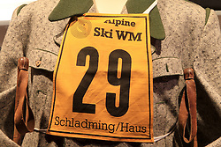 30.01.2013, Schladming, AUT, FIS Weltmeisterschaften Ski Alpin, Schladming 2013, Vorberichte, im Bild eine Startnummer von der WM 1982 in einem Schaufenster am 30.01.2013 // old number from 1982 in a shop window on 2013/01/30, preview to the FIS Alpine World Ski Championships 2013 at Schladming, Austria on 2013/01/30. EXPA Pictures © 2013, PhotoCredit: EXPA/ Martin Huber