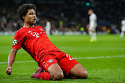 Bayern Munich midfielder Serge Gnabry (22) celebrates after scoring a goal (2-5) during the Champions League match between Tottenham Hotspur and Bayern Munich at Tottenham Hotspur Stadium, London, United Kingdom on 1 October 2019.