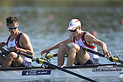 Varese,  ITALY. 2012 FISA European Championships, Lake Varese Regatta Course. ..GBR LM2X, Bow Chris BODDY and Michael MOTTRAM at the start of their heat of the Men's lightweight Sculls..11:27:54  Friday  14/09/2012 .....[Mandatory Credit Peter Spurrier:  Intersport Images]  ..2012 European Rowing Championships Rowing, European,  2012 010721.jpg.....