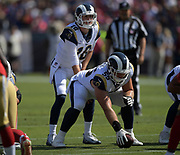Los Angeles Rams quarterback Jared Goff (16) prepares to take the snap from center Brian Allen (55) during an NFL football game against the San Francisco 49ers, Sunday, Oct. 13, 2019, in Los Angeles. The 49ers defeated the Rams 20-7. (Dylan Stewart/Image of Sport)