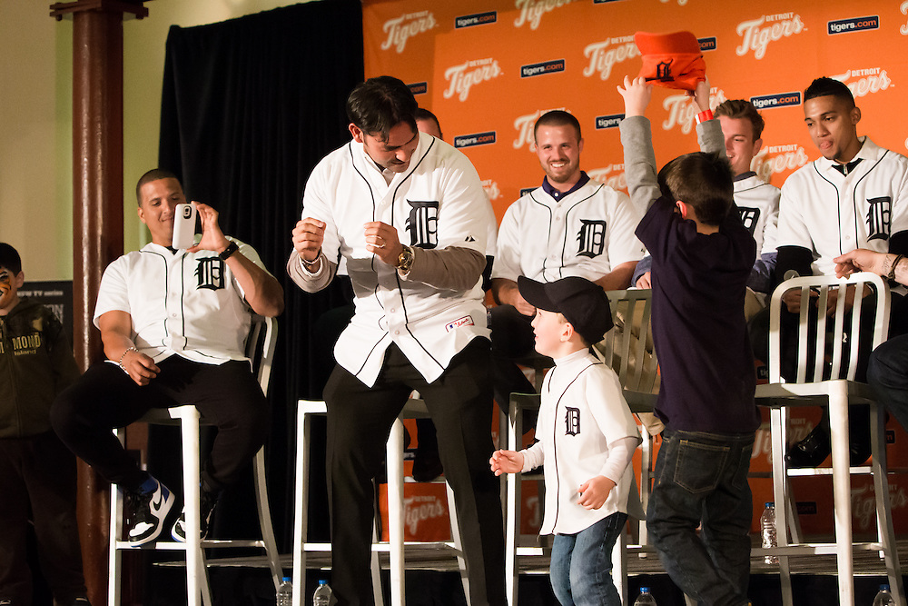 Aníbal Sanchez dancing with young fans at a Detroit Tigers Winter Caravan stop at The Henry Ford.  Photographed by KMS Photography