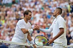 LONDON, ENGLAND - Thursday, July 4, 2019: Rafael Nadal (ESP) (L) shakes hands with Nick Kyrgios (AUS) after the Gentlemen's Singles second round match on Day Four of The Championships Wimbledon 2019 at the All England Lawn Tennis and Croquet Club. Nadal won 6-3, 3-6. 6, 7-6. (Pic by Kirsten Holst/Propaganda)