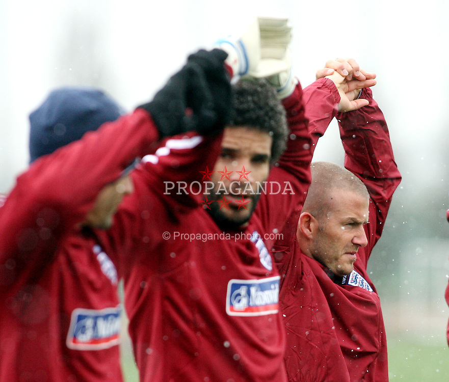 LONDON, ENGLAND - Monday, March 24, 2008: England's David Beckham (r) and David James during training at London Colney ahead of the International Friendly match against France. (Pic by Chris Ratcliffe/Propaganda)