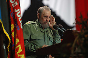Cuban President Fidel Castro delivers a speech at the Karl Marx theatre in Havana on 26 July 2005 during commemorations for the 52nd anniversary of the assault to the Moncada fort. Castro warned that his communist regime would not tolerate 'provocations' by dissidents.