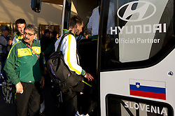 Khalid Nasif and Tim Matavz of Slovenia at departure of Slovenia National team from Southern Sun Hyde Park Hotel to airport for flight home after the last 2010 FIFA World Cup South Africa Group C  match between Slovenia and England on June 25, 2010 at Southern Sun Hyde Park Hotel, Johannesburg, South Africa. (Photo by Vid Ponikvar / Sportida)