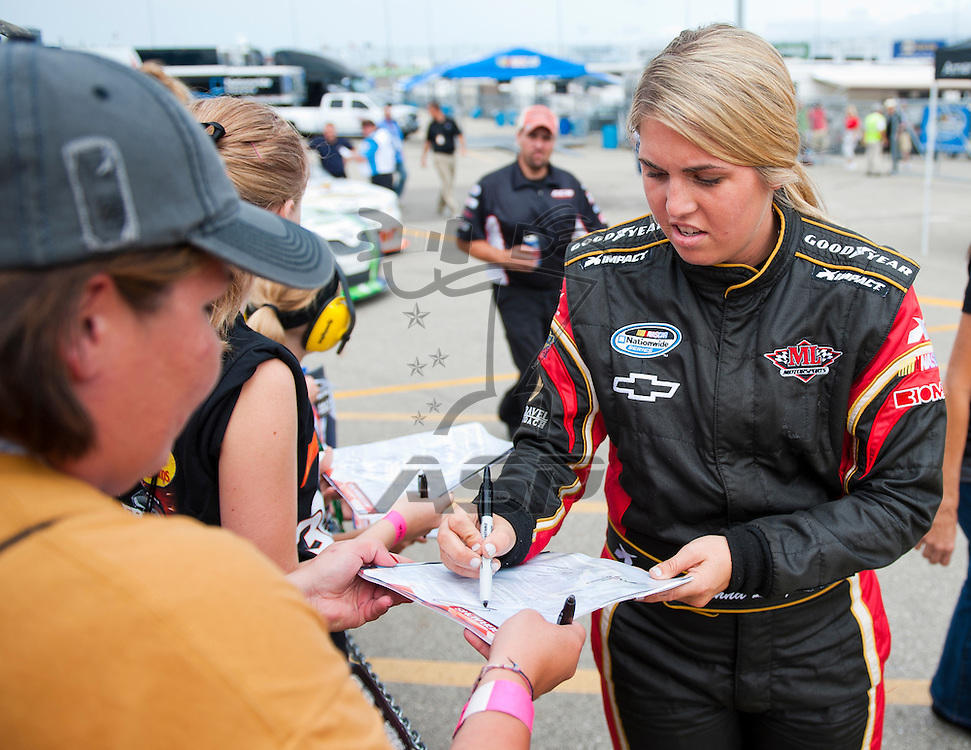 NEWTON, IA - July 04, 2012: Johanna Long (70) during qualifying for the U.S. Cellular 250 race at Iowa Speedway in Newton, IA.