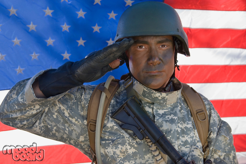 Portrait of US Army soldier saluting