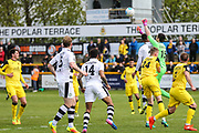 Southport's goalkeeper Chris Cheetham(15) punches clear a Forest Green Rovers attack during the Vanarama National League match between Southport and Forest Green Rovers at the Merseyrail Community Stadium, Southport, United Kingdom on 17 April 2017. Photo by Shane Healey.