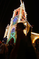 The Salto church illuminated for the annual summer festivity. European Rainbow Gathering of 2011 in Portugal