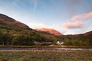 View of the River Leven, close to its outflow into Loch Leven, near Kinlochleven in the Scottish Highlands.