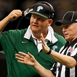 November 10, 2011; New Orleans, LA, USA; Tulane Green Wave interim head coach Mark Hutson talks to an official during the second quarter of a game against the Houston Cougars at the Mercedes-Benz Superdome.  Mandatory Credit: Derick E. Hingle-US PRESSWIRE
