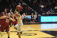 "Ole Miss' Shandrika Sessom (23) vs. Arkansas' Melissa Wolff (33) at the C.M. ""Tad"" Smith Coliseum in Oxford, Miss. on Friday, January 2, 2015. (AP Photo/Oxford Eagle, Bruce Newman)"