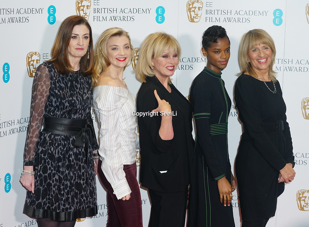 London, England, UK. 9th January 2018. Amanda Berry, Natalie Dormer, Joanna Lumley, Letitia Wright,Jane Lush attend EE British Academy Film Awards Nominations, London, UK