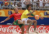 Footbal-FIFA Beach Soccer World Cup 2006 -  Semi Final- BRA xPOR -Bruno and Marinhol  -Rio de Janeiro- Brazil - 11/11/2006.<br />Mandatory Credit: FIFA/Ricardo Ayres