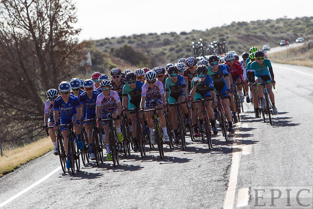 SILVERY CITY, NM - APRIL 18: The womens field after leaving the feed zone on stage 1 of the Tour of The Gila on April 18, 2018 in Silver City, New Mexico. (Photo by Jonathan Devich/Epicimages.us)