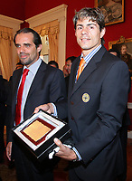 20090528: FUNCHAL, PORTUGAL Ð Nacional Madeira striker Nene receives the Golden Ball, after scoring 20 goals on the Portuguese League 2008/2009. Nene is being followed by SL Benfica, FC Porto, Arsenal, Lyon, AS Roma and Hamburg, among other teams. In picture: Miguel Albuquerque (Camara Municipal do Funchal president) and Nene. <br />